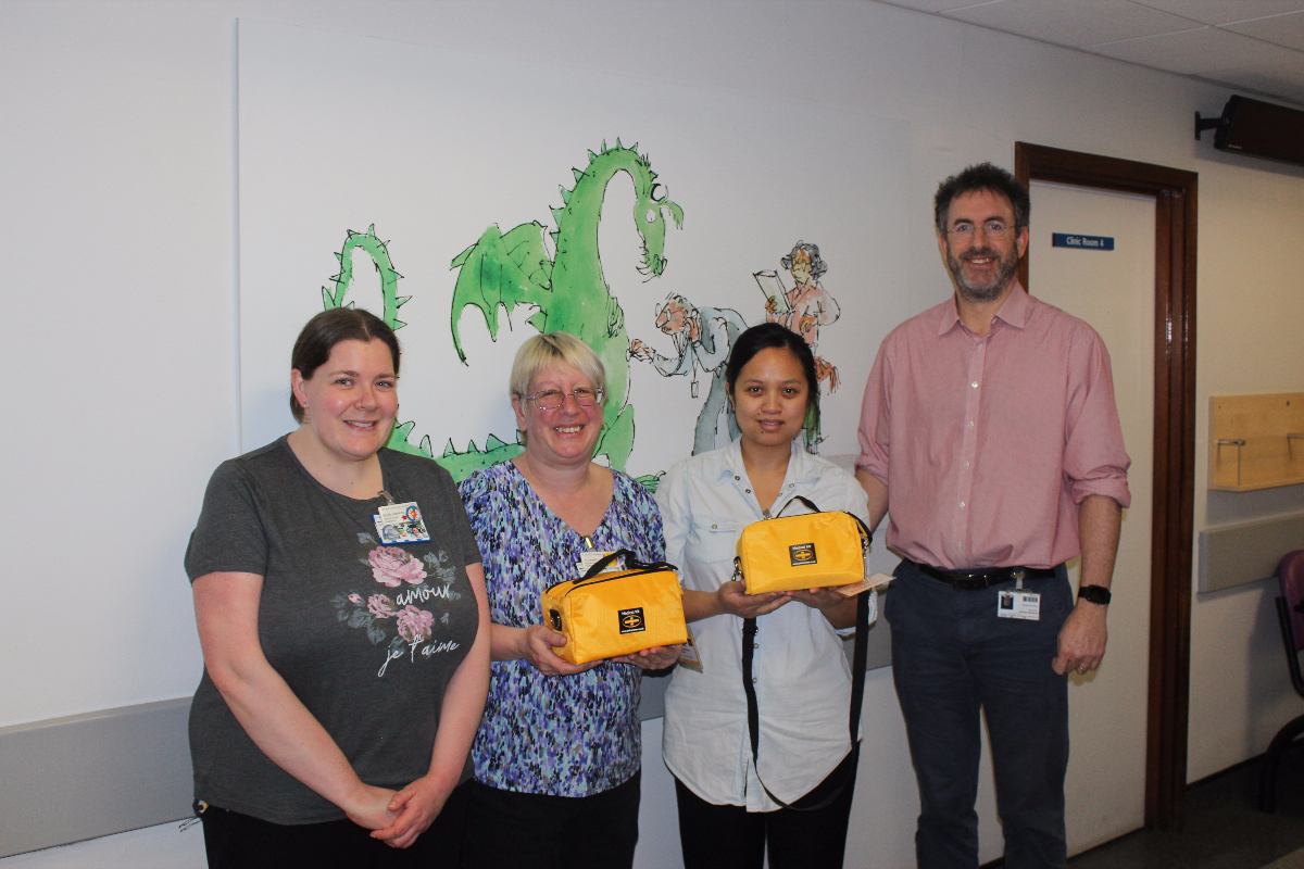 Sarah Hawkins, Asthma Nurse Specialist; Jo Lawson and Camille Valencia, Clinical Nurse Specialists; and Dr Richard Chavasse, Consultant in Paediatric Respiratory Medicine with the asthma bags